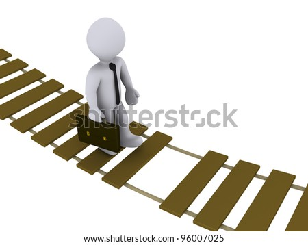 3d businessman walking on a damaged suspension bridge - stock photo