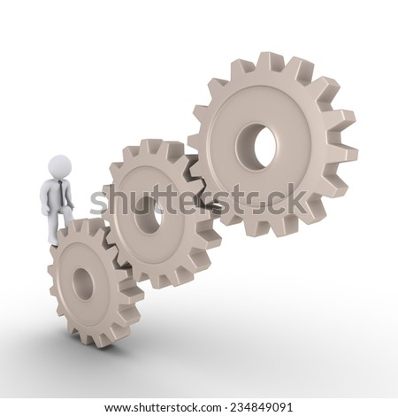 3d businessman walking on cogwheels in order to reach the top - stock photo