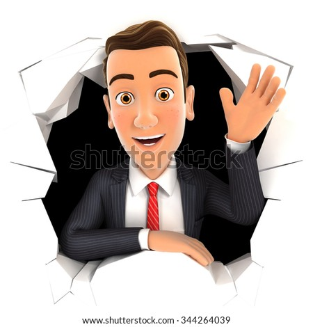 3d businessman waving hand through hole in wall, isolated white background