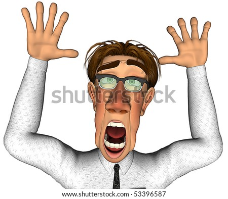 3d businessman what is going on cartoon - stock photo