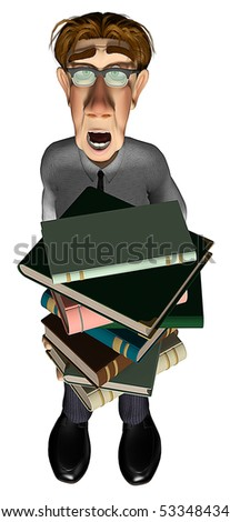 3d businessman with a lot of books cartoon - stock photo