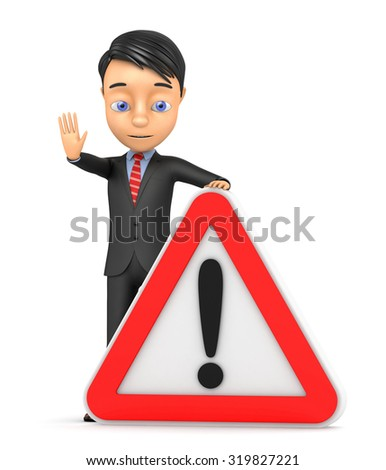 3d businessman with an exclamation mark - stock photo