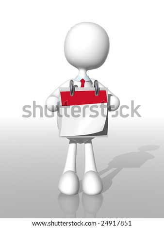3d businessman with blank calendar to write your own date - stock photo