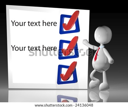 3d businessman with blank check list to write your own text - stock photo