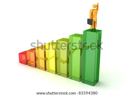 3D Businessman with brief-case on top steps - stock photo