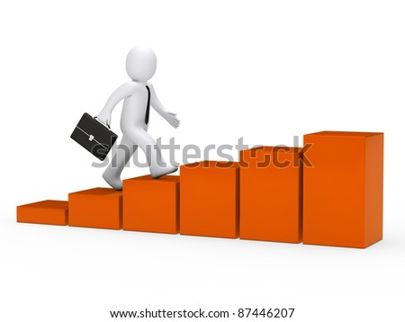 3d businessman with briefcase run to success - stock photo