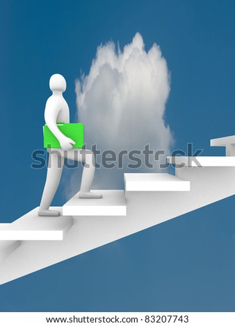3d businessman with briefcase walking upstairs. This is a 3d illustration