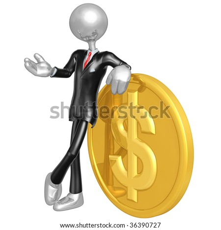 3D Businessman With Gold Dollar Coin - stock photo