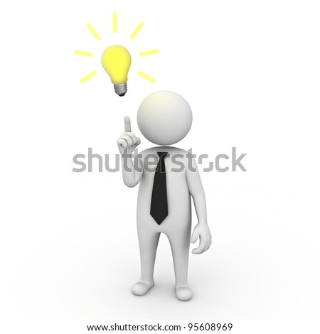 3d businessman with idea lightbulb on white background - stock photo