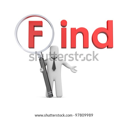 3d businessman with magnify glass (add you graphics on magnify glass) - stock photo