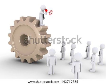 3d businessman with megaphone on a cogwheel is speaking to others - stock photo