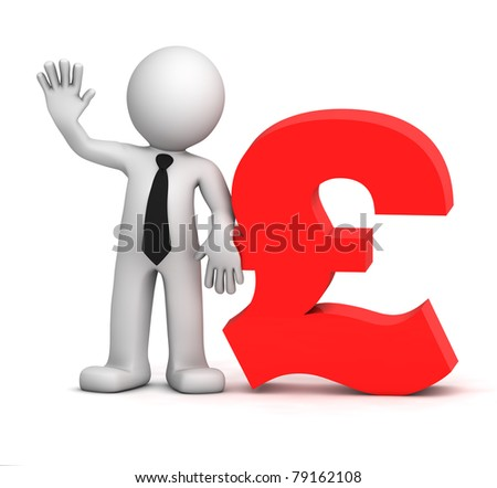 3d businessman with pound currency symbol. Isolated - stock photo