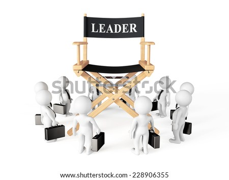 3d Businessmans Around Director Leader Chair on a white background - stock photo