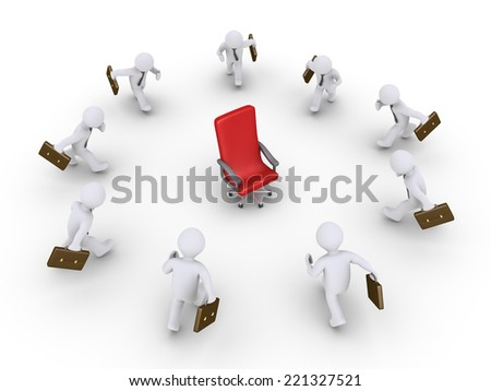 3d businessmen are running towards an empty chair - stock photo