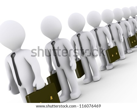 3d businessmen are standing in line waiting (different angle camera)