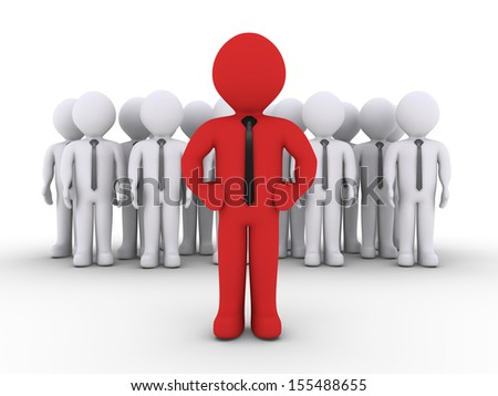 3d businessmen as a team and one is in front as the leader - stock photo