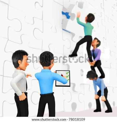 3D businessmen assembling a puzzle with a supervisor checking the quality control - stock photo