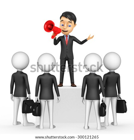3d businessmen on the podium with a horn - stock photo