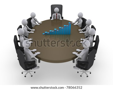3d businessmen sales meeting - stock photo