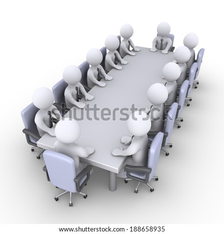 3d businessmen sitting across a table as in a meeting