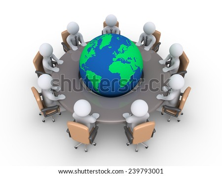 3d businessmen sitting around a table with the globe in the middle