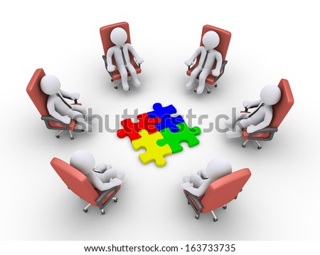 3d businessmen sitting on armchairs and four puzzle pieces in the middle - stock photo