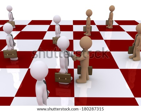 3d businessmen standing on a chess board and two of them shake hands - stock photo