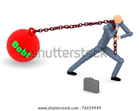 3D bussinessman pulling the weigh of his Debt