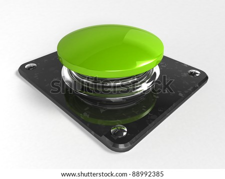 3d button - green - stock photo