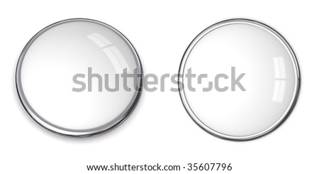 3D button in solid white, front and side angle