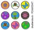 3D Button - Nature Embellishments - stock photo