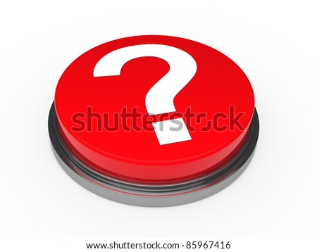 3d button red with question mark sign - stock photo