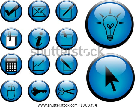 3D Buttons wth reflection. - stock photo
