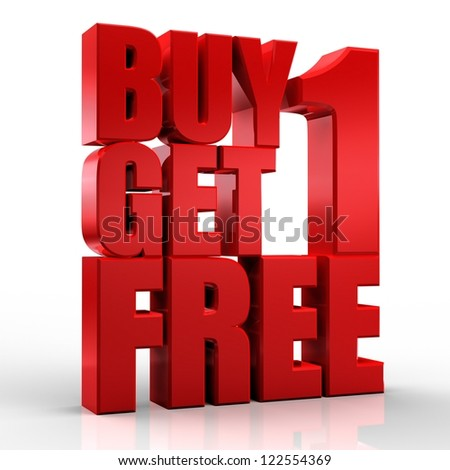 3D Buy 1Get 1 Free text on white background - stock photo