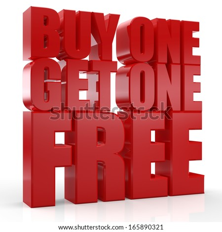 3D Buy 1 Get 1 Free text on white background - stock photo
