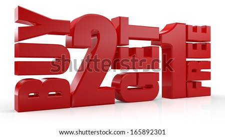 3D Buy 2 Get 1 Free text on white background
