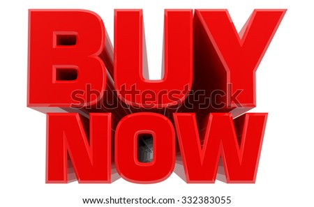3D BUY NOW word on white background 3d rendering - stock photo