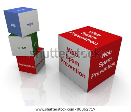 3d buzzword textboxs of web spam prevention - stock photo