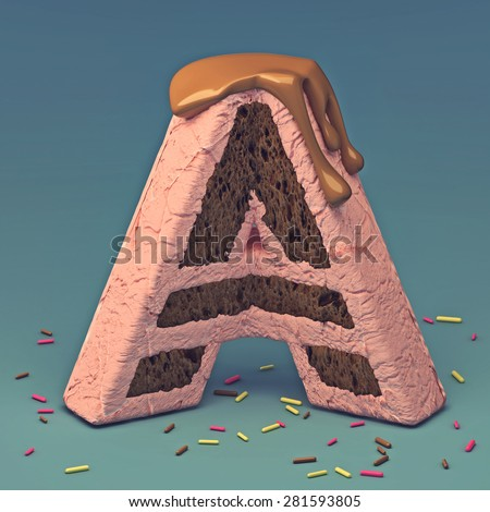 3d cake font letter A - stock photo