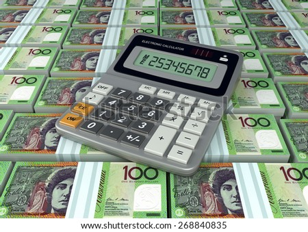 3D Calculator on Australia currency banknote - stock photo