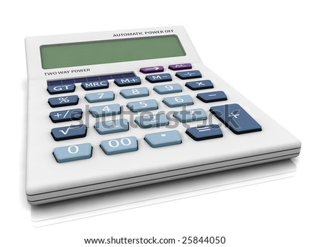 3D calculator with blank LCD panel.