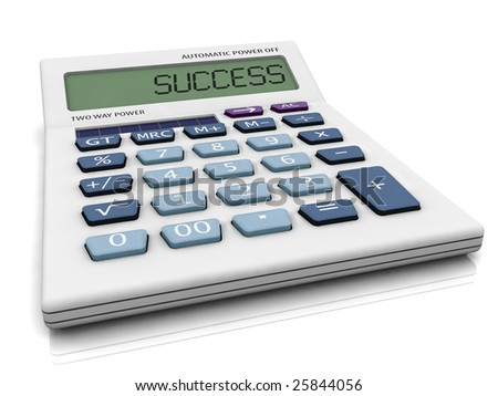3D calculator with SUCCESS write in LCD panel.