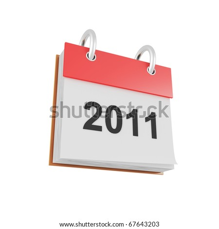 3d calendar 2011 icon isolated on white background - stock photo