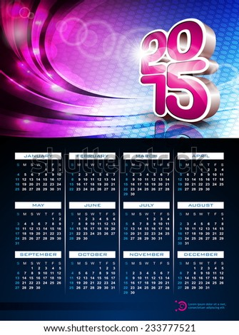 3d Calendar 2015 illustration on abstract color background. JPG version. - stock photo