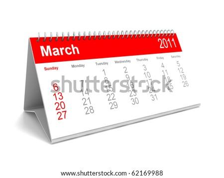 3D calendar March 2011 - stock photo