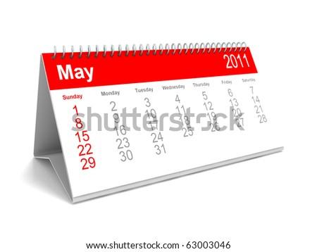 3D calendar May 2011 - stock photo