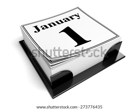 3D. Calendar, New Year's Day, January.
