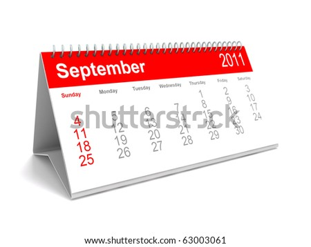 3D calendar September 2011 - stock photo