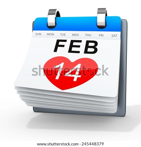 3D calendar showing valentine's day on white background - stock photo