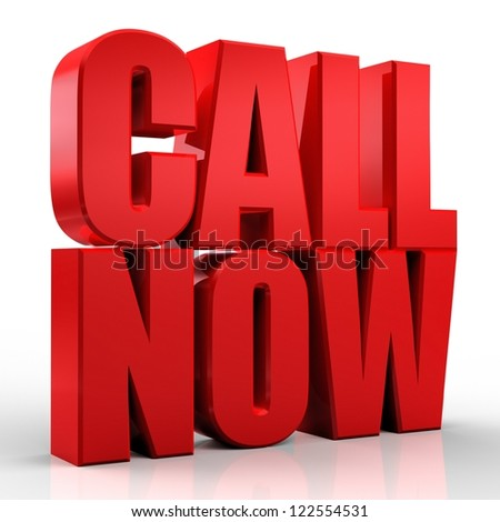 3D Call Now text on white background - stock photo